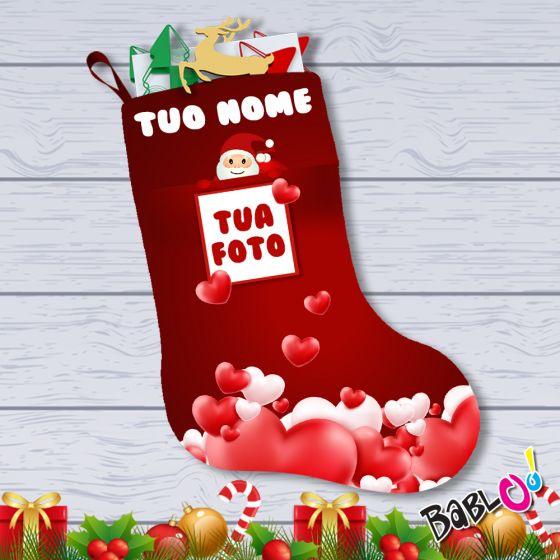 Befana E Babbo Natale.Calza Della Befana Baby Personalizzata Con Nome E Foto Babbo Natale
