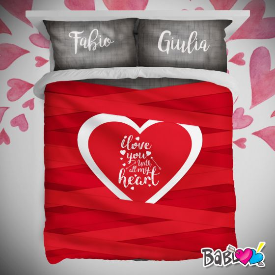 Lenzuola Matrimoniali San Valentino.Copripiumino Lenzuolo Trapunta Love Idea Regalo San Valentino