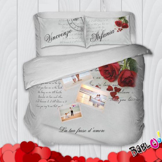 Copripiumino Con Foto Personalizzate.Copripiumino Lenzuolo Trapunta Con Federe Incluse Rose Personalizzato Con Nomi O Frasi