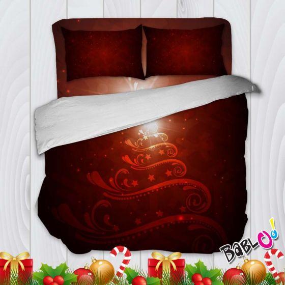 Copripiumino Lenzuola E Federe.Parure Trapunta Natale Set Lenzuola Federe E Copripiumino Natalizio Albero Rosso