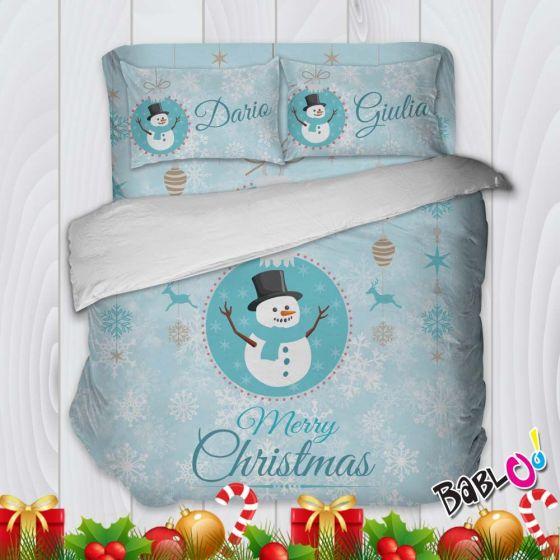 Biancheria Da Letto Natalizia.Parure Trapunta Natale Set Lenzuola Federe E Copripiumino Natalizio Pupazzi Di Neve