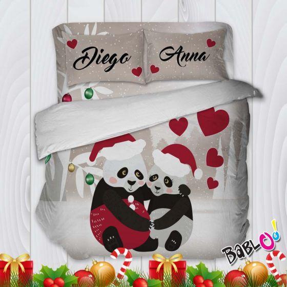 Copripiumino Lenzuola E Federe.Parure Trapunta Natale Set Lenzuola Federe E Copripiumino Natalizio Coppia Di Panda