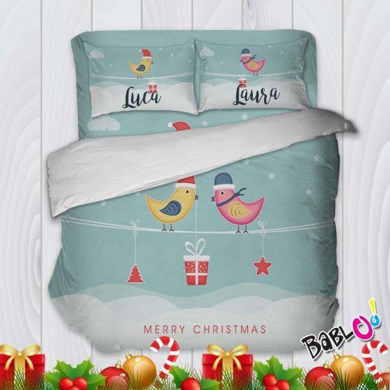 Copripiumino Lenzuola E Federe.Parure Trapunta Natale Set Lenzuola Federe E Copripiumino Natalizio Birds In Love