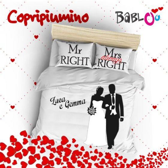 Cuscini Mr Right Mrs Always Right.Copripiumino Lenzuolo Piu Due Federe Love You And Me