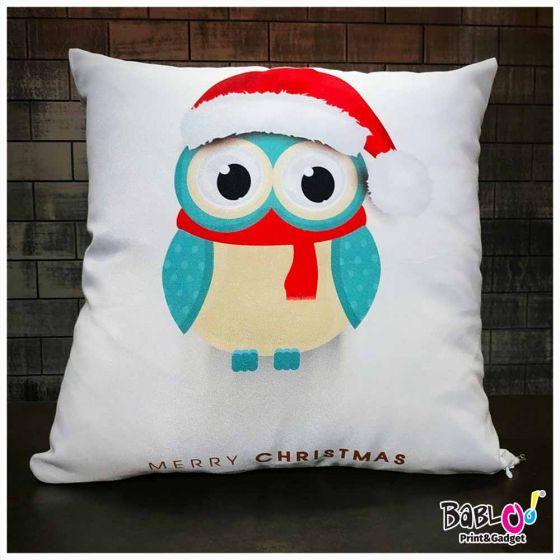 Cuscini Invernali.Cuscino Quadrato Natalizio Idea Regalo Natale Gufo Invernale
