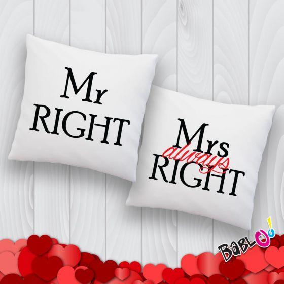 Cuscini Mr Right Mrs Always Right.Coppia Di Cuscini Love You And Me Mr Right Mrs Always Right