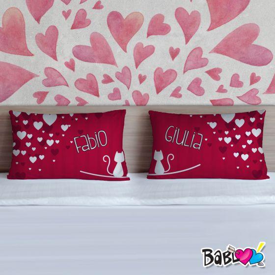 Federe Per Cuscini San Valentino.Coppia Di Federe Love Idea Regalo Per San Valentino Gattini