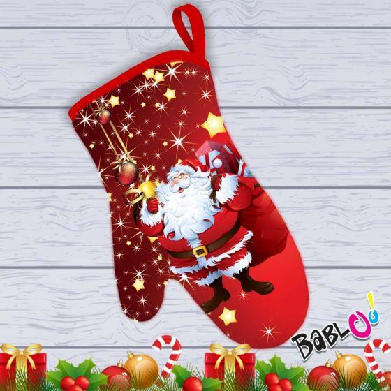 Idee Regalo Natale In Cucina.Guanto Da Cucina Natalizio Idea Regalo Natale Babbo Natale Felice