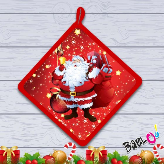 Idee Regalo Natale In Cucina.Presina Da Cucina Natalizia Idea Regalo Natale Babbo Natale Felice