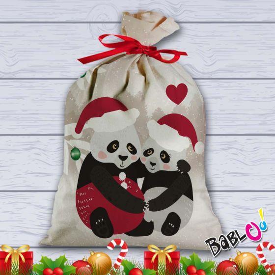 Regali Di Natale Per Coppia.Sacco Per Regali Di Natale Idea Regalo Natalizia Coppia Di Panda