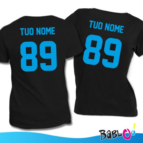 Coppia Di T-Shirt Linea Calcio Personalizzate Con Nomi e Numeri