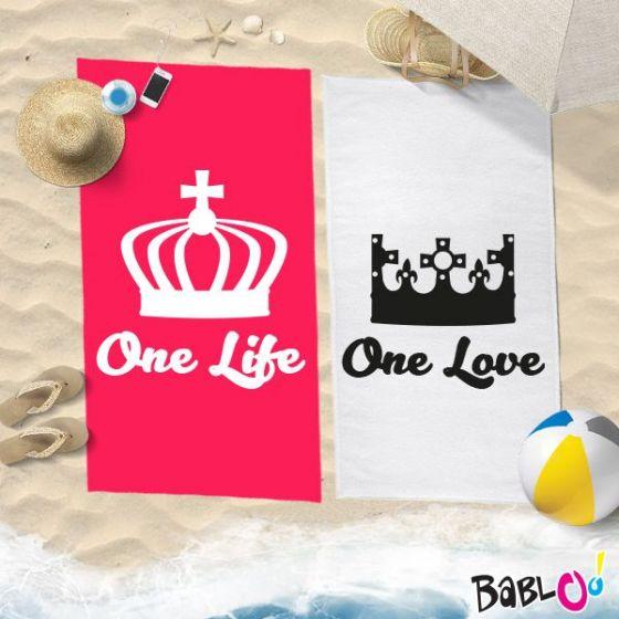 Babloo Coppia di Teli Mare Love You And Me One Life One Love 70x100