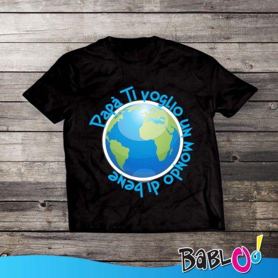 T Shirt Maglia Maglietta Bambino Per Il Papà Ti Voglio Un Mondo Di