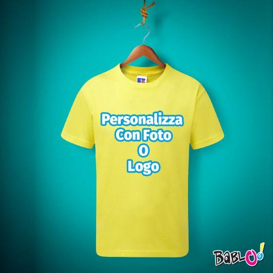 62daa52b59 T-Shirt Maglietta Maglia Bambino / Neonato GIALLA Personalizzata con Foto,  Nome o Frase