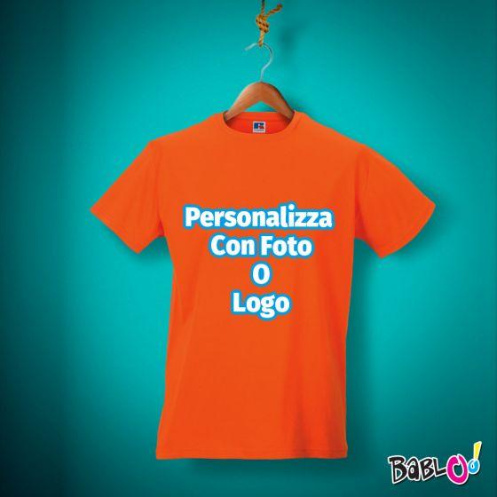 on sale 81cf4 dc815 T Shirt Maglietta Maglia Uomo - ARANCIONE - 100% Cotone - Personalizzata  con Foto, Nome o Frase Colorata