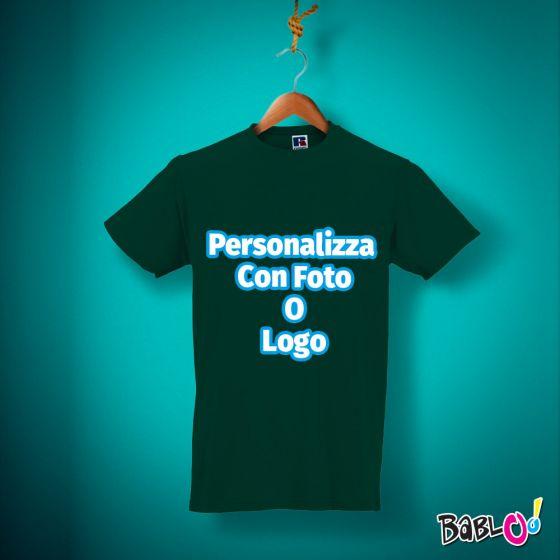 finest selection 415e0 d3b65 T Shirt Maglietta Maglia Uomo - VERDE BOTTIGLIA - 100% Cotone -  Personalizzata con Foto, Nome o Frase