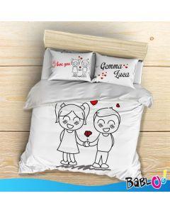7a09526de9 Copripiumino / Lenzuolo Più Due Federe Love You And Me Personalizzato con  nomi